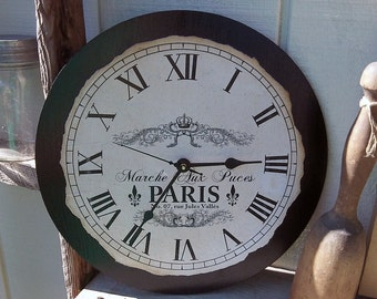 "Vintage, Country, Shabby, Chic Style Paris France Flea Market Clock, 12"" x 12"""