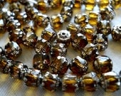 WHISKEY BITS- Fire Polished Cathedral Czech Glass Beads-5mm, 10pcs