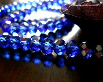 10 Rondelle AB Purple Blue Faceted Swarovski Crystal 6x8mm Beads
