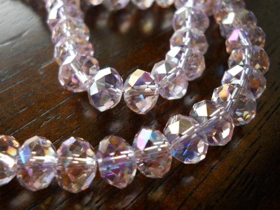 10 Soft AB Lavander Pink Faceted Swarovski Crystal Rondelle 8mm Beads
