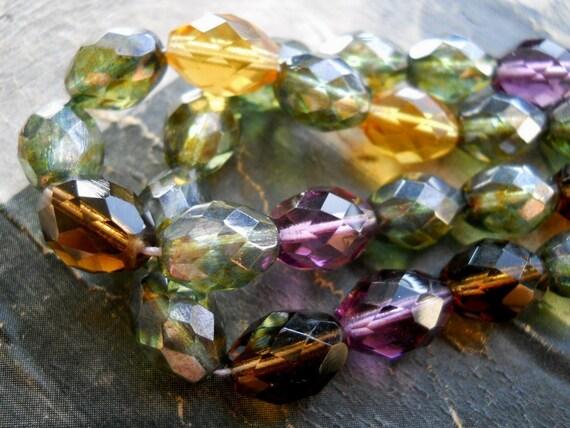 HONEY FOREST- Limited Fire Polished Mix Oval Czech Glass Beads-12x8mm, 10pcs