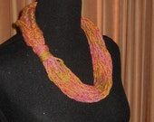 Lariat Scarf, Tori's Fingers of Hope 2012 Favorite Color - Tangerine Tango with Gold and Fushia, Summer - 25% Off