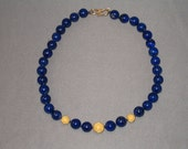 Lapis necklace with 22KG textured beads