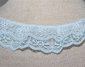 Double Ruffle Lace - White and Blue ...Great for Costumes, Bridal Garters and Childrens apparel.   2 Inches wide