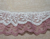 Double Ruffle Lace - Ivory and Colonial  Rose...Great for Costumes, Bridal Garters and Childrens apparel.   2 Inches wide