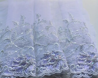 Silver/Lilac Lace Tulle Trim with scallop edges and beads ... 8 inches wide