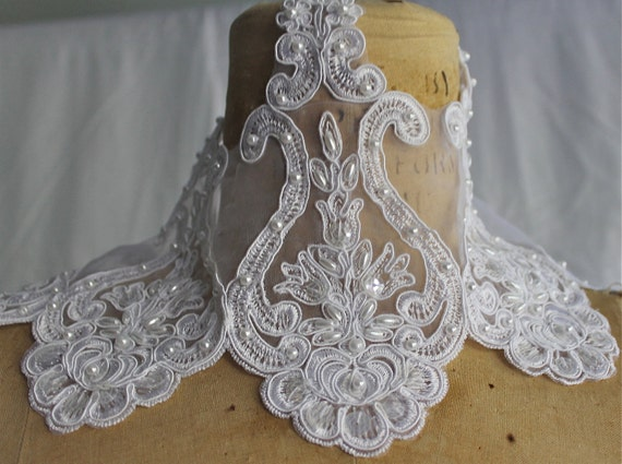 White Lace Organza Trim with faux pearls and sequins  - 6.5  Inches wide