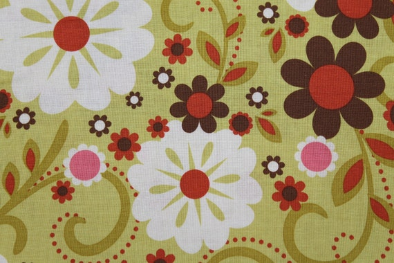 Green Indian Summer Fabric - Large White Flowers with Orange and Brown - Aprons, Fashion Apparel, Pillowcases, DIY sewing projects