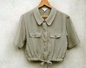 Vintage Light Taupe Peterpan Collar Elastic Waist Crop Top