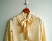 Vintage Cream Scallop Ruffle Bow Tie Neck Long Sleeves Top