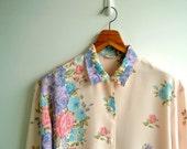 Vintage Sweet Pleasure Pastel Floral Printed Long Sleeves Top LARGE