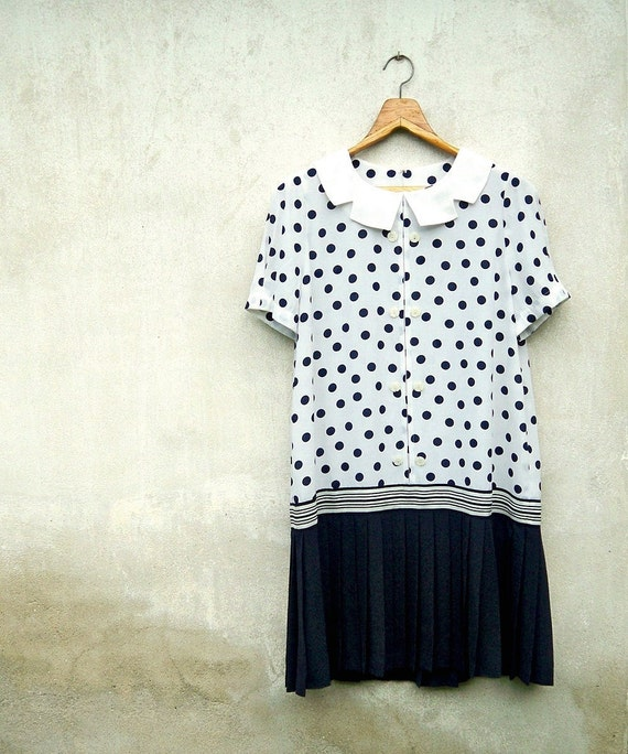 Vintage White and Navy Polka Dot and Stripe Pattern Scallop Collar Pleat Dress