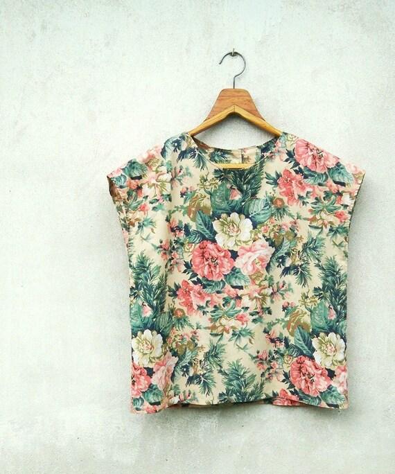 Vintage Tropical Flower Printed Beige Cap Sleeves Boxy Top