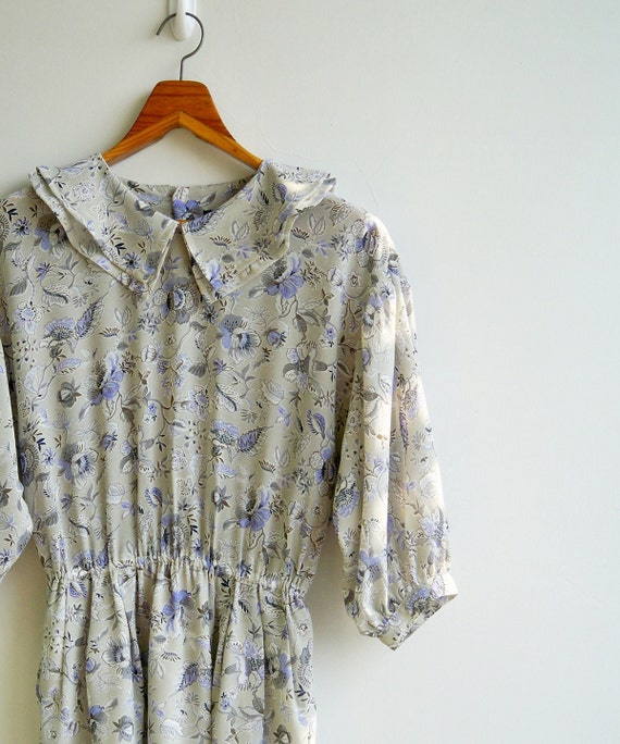 Vintage Lilac and Gray Antique Flower Printed Double Peterpan Collar Elastic Waist Dress