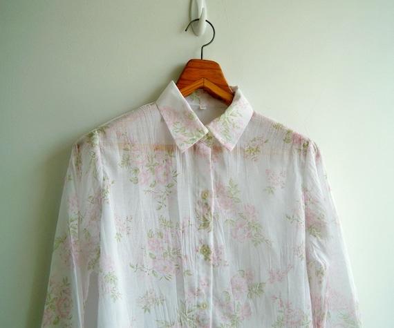 Vintage Pastel Pink Floral Printed Wrinkle Semi Sheer Shirt