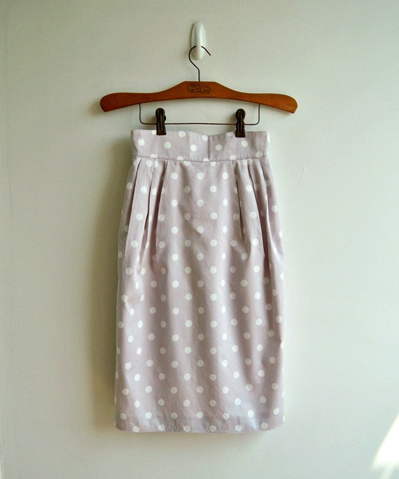 Sweet Pastel Lavender and White Polka Dot Printed High Waist Narrow Skirt SMALL