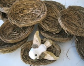 12 Straw Nests - Wedding Supplies, Decoration, Placeholders - Painted Bronze