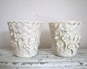 Vintage Belleek Basket Spill Vases - Irish Fine China