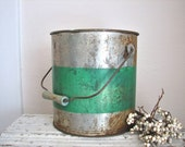Vintage Rusty Metal Bucket with Wood Handle