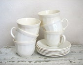 Vintage Creamy White Milk Glass Cups and Saucers - French, Set of 6