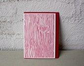 Carved Heart - Letterpress - Valentine's Day - Tree - Love - Valentine Card - red - bark - tree bark