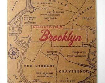 Greetings from Brooklyn - Letterpress Postcard