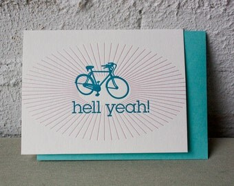 Letterpress Card - Hell Yeah - Bike Friendly - fun - bicycle - teal - rays - biking - cycling