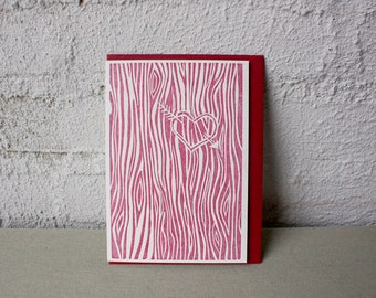 Carved Heart - Letterpress - Valentine's Day - Tree - Love - Valentine Card - red - bark - tree bark