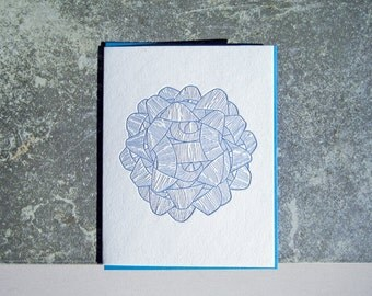 Blue Bow Letterpress Greeting Card