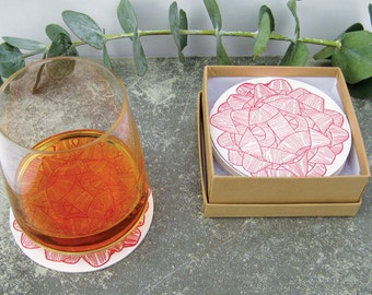 Red Gift Bow Letterpress Drink Coasters, Set of 8