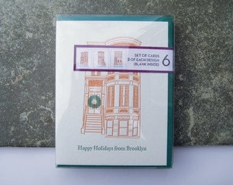 Happy Holidays from Brooklyn, Box Set of 6 Brownstone Letterpress Holiday Cards