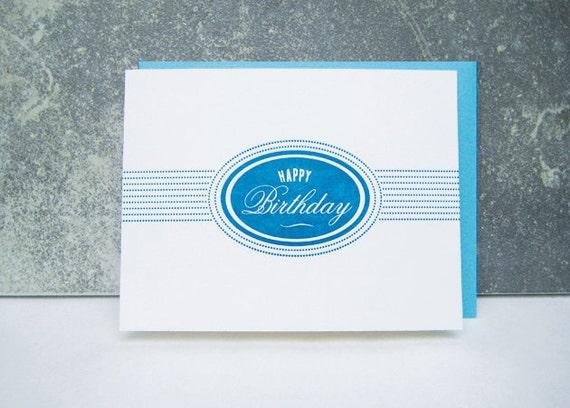 Letterpress Birthday Card - Happy Birthday - Birthday Card - blue - oval - impression - label