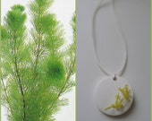 Seaweed Air-dry clay necklace, handmade pendant. Fresh green- white