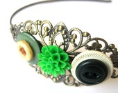 Green headband - filigree headband - vintage buttons, cream, brown, green, green flower, chrysanthemum - metal headband