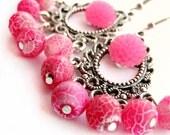 Pink earrings, hot pink - Pink crackle agate - gemstone earrings - cluster, beaded earrings, silver hoops - flower earrings, chrysanthemum