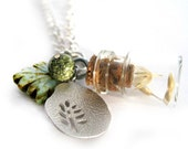 Green necklace - Bottle necklace, Vial - Oats, dried flowers - tree charm, glass leaf, turquoise gemstone - Summer jewelry