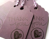 Thank you tags - purple tags - plum, lilac - handstamped, heart stamp - set of 6