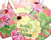 FLORAL tags, flower tags, tapestry - Heart tags - hello sun shine, you are my sunshine - Gift tags, thank you tags - shabby chic, set of 10