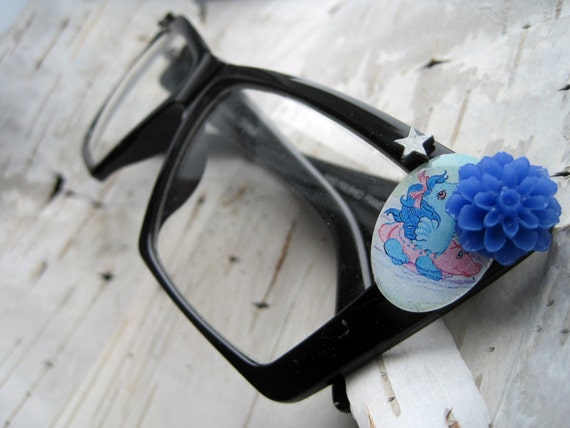 Eyeglasses - thick frames - My Little pony - decorated black rims, blue flower, silver stars - geek chic - super cateye