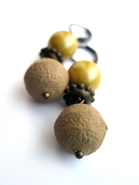 Yellow earrings, mustard earrings - papier maché and VINTAGE PEARLS - unique beads - beige, yellow, brass colors