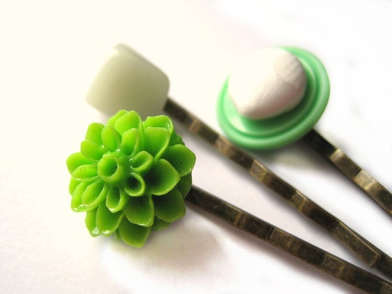 Green bobby pins, hair pins - Vintage button, sea glass and flower bobby pin trio - bright green, seafoam, white