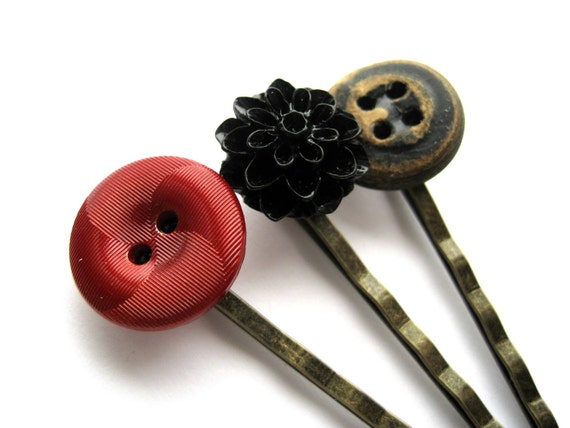 Black and red bobby pin - bobby pin set - gothic, vampire - vintage buttons, worn leather - black chrysanthemum cabochon