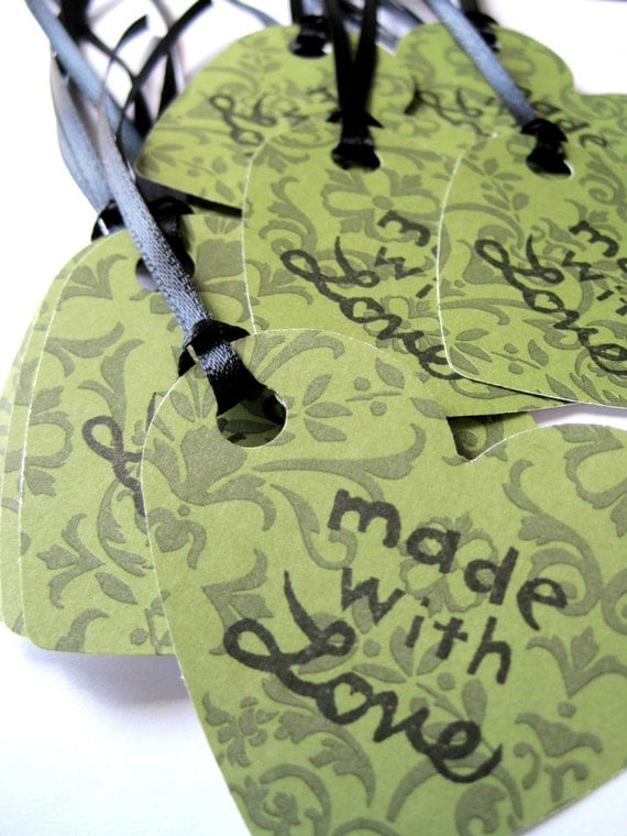 Gift tags - Made with love tags green, black ribbon - HEART, heart shaped - green damask tags - thank you tags - handstamped - set of 8