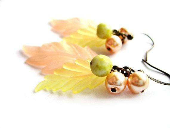 Peach, chartreuse earrings - Leaf dangle earrings - VINTAGE parts - vintage lucite leaves, vintage pearls - stones, yellow turquoise