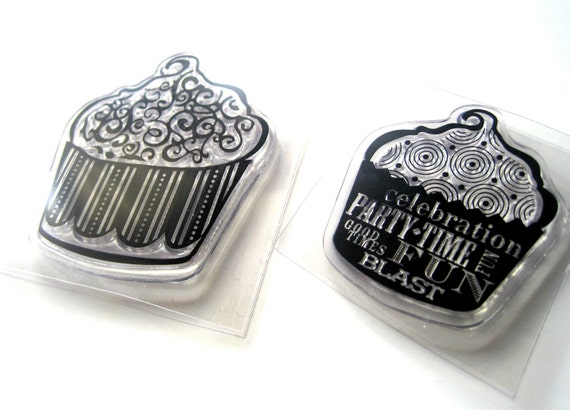 Cupcake stamps - ornate cupcakes - 2 stamps - for acrylic mount - Happy Birthday wording, script - Celebration, fun, good times