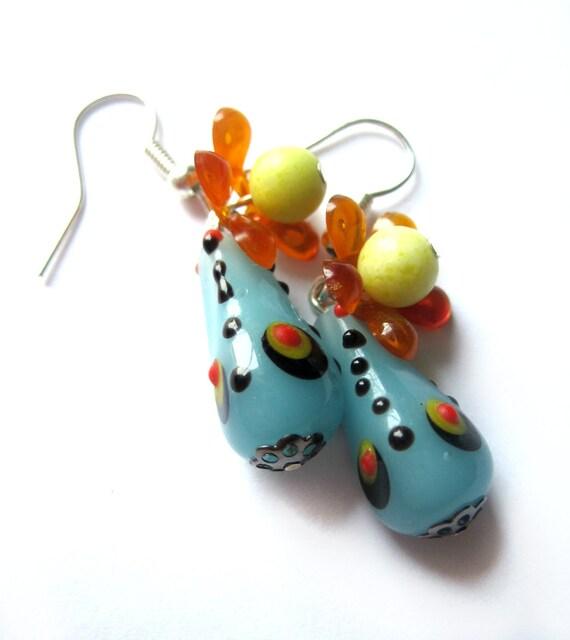 Peacock earrings - Blue, orange, yellow - Blown glass, vintage beads - flowers, feathers - Summer jewelry