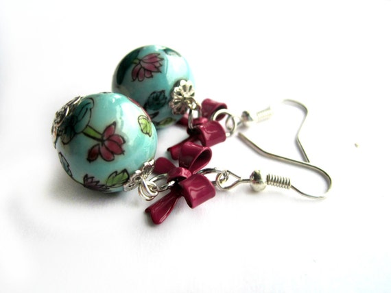 Shabby chic earrings - blue, turquoise, Japanese beads - lotus flowers - pink, purple bows, bow earrings - porcelain beads