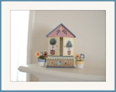 Hand Painted House shelf.Curio.Trinket Box.Shadow Box. With doors and drawer.Painted Wood. Handmade