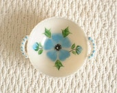 Hobnail hand-painted BOWL, with Aqua Turquoise flowers painted. With handles. Hard to Find. Vintage