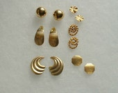 Destash Lot of lovely gold earrings for pierced ears. Various shapes. Six Pairs